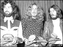 Jimmy Page (L) Robert Plant and John Bonham