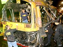 Police investigate the wreckage of a bus in Makati, Manila