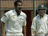 Irfan Pathan takes a wicket