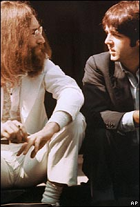 John Lennon with Paul McCartney during the Abbey Road photo session