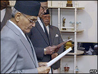 Tulsi Giri taking oath of office