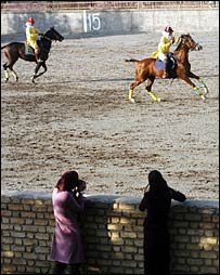 Iranian polo players and spectators