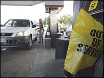 A petrol station in Houston, Texas, running low on fuel