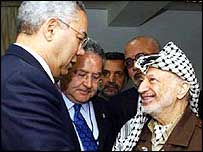 Former US Secretary of State, Colin Powell and Yasser Arafat