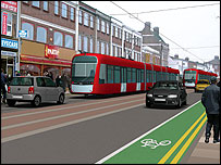 Impression of what the West London Tram will look like