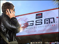 Making a call outside the 3GSM World Conference, in Cannes