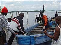 Militia in boats