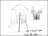 Sketch by Tracey Emin of her Roman Standard sculpture