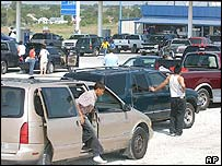 Queues for fuel at a petrol station in Texas