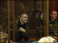 Mikhail Khodorkovsky in defendant's box at the Moscow city court