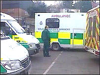 Ambulances queuing up at the Royal Gwent Hospital, Newport