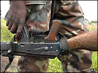 A Congolese soldier with a gun