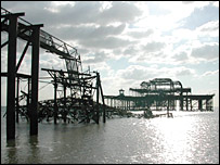 The skeleton and wreckage of Brighton's West Pier