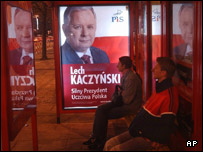 Poster of Lech Kaczynski, presidential candidate and leader of Law and Justice party