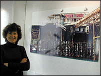Rachel Clark of the West Pier Trust by a picture of the pier