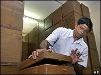 Ballot boxes in Sri Lanka