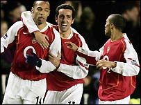 Arsenal celebrate on Monday