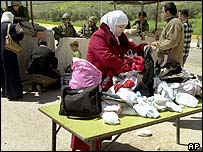 Palestinian women at Israeli checkpoint