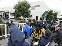 Media outside the Marian Medical Center