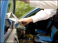 Police testing car windows