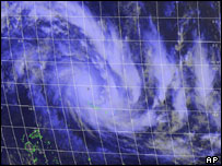 Satellite view of Cyclone Olaf in the South Pacific, collected at 2300 GMT Tuesday
