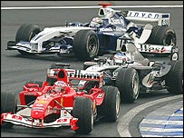 Rubens Barrichello, Kimi Raikkonen and Juan Pablo Montoya at the 2004 Brazilian Grand Prix