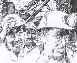 Miners, sketch by Dewi Bowen