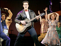 Cheyenne Jackson as Elvis and cast of All Shook Up