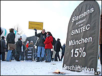 Siemens employees protesting