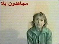 Giuliana Sgrena in a militants' video pleading for her release