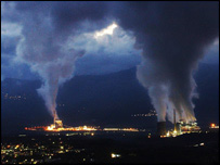 Smoke rises out of chimneys at a major power plant in Megalopoli, southern Greece (file photo).