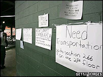 Advertisements for transportation and jobs at the Houston Astrodome