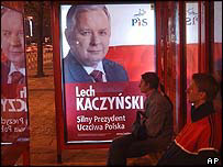 Poster of Polish presidential candidate Lech Kaczynski, leader of Law and Justice Party, in Warsaw