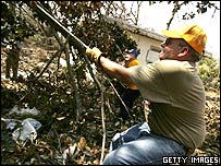 Dave Unruh was one of the numerous volunteers helping to clear debris in Biloxi