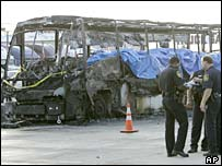 Police officers stand in front of burnt out bus