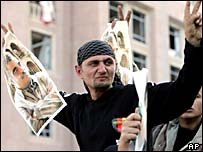 Ciudadano sirio durante los funerales del ex primer ministro libanés Rafik Hariri.