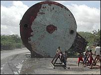 Abandoned oil drum in Mogadishu streets