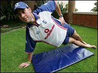 Marcus Trescothick during a Yoga session in South Africa