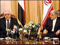 Syrian Prime Minister Naji al-Otari and Iranian Vice-President Mohammad Reza Aref