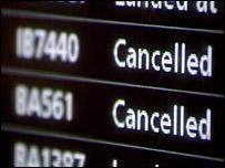 An departures board