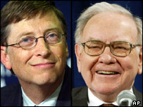 Bill Gates (left) and Warren Buffett remain top of the Forbes list