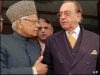 Natwar Singh [L] after talks with Khursheed Kasuri