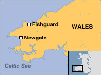 Map showing coastline between Fishguard and Newgale