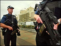 Armed police on Brighton seafront
