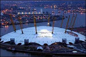 The Millennium Dome, where gymnastics would be staged, dissplays a welcome message