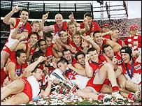 Sydney Swans celebrate after winning the AFL final