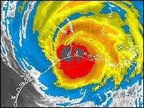 Satellite image of Hurricane Rita as it makes landfall