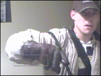 Benjamin Park in the middle of his burglary. Picture courtesy of Duncan Grisby