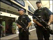 Armed police on duty in Brighton
