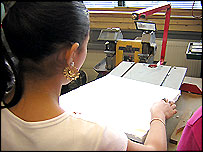 Girl using cutting machine
